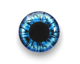 25mm handmade glass eye cabochon - blue eye - standard profile
