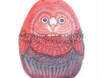 "Owl Watercolor Painting - Original Wall Art - Cute Art for an Owl Nursery - Woodland Home Decor 6""x7"""
