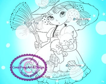 Digital Stamp, Digi Stamp, digistamp, Priscilla Revised by Conie Fong, Halloween, Witch, Girl, children, coloring page