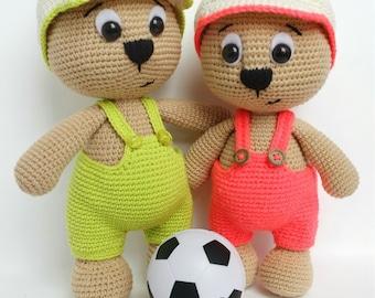 "PATTERN ""Bear with cap"" (crochet amigurumi)"