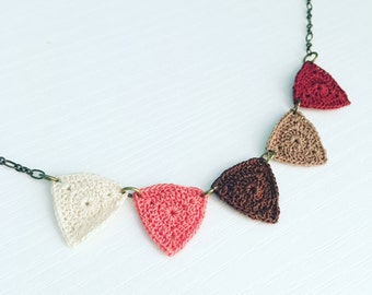 Bucktown Crochet Necklace in Desert Rose, Boho Jewelry, Triangle Statement Necklace, 2nd Anniversary, Bunting Necklace, Gift Under 50