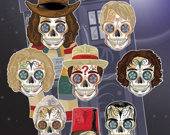 Every Dr. Who Sugar Skulls Print 11x17 print