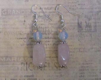rose quartz and moonstone earrings