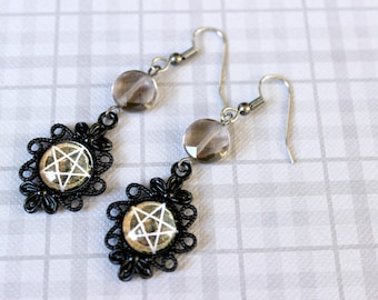 Earth Pentacle Cabochon Earrings with Smoky Quartz Beads - Victorian Vintage Style Halloween Goth Witchy