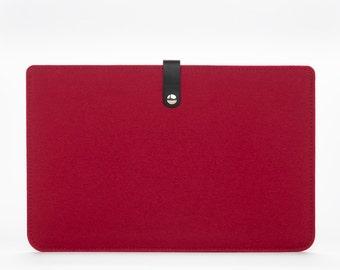 MacBook Air 11 Sleeve - MacBook Case - MacBook Cover - MacBook Air Leather - MacBook Red Felt Case - 11 inches Laptop Sleeve