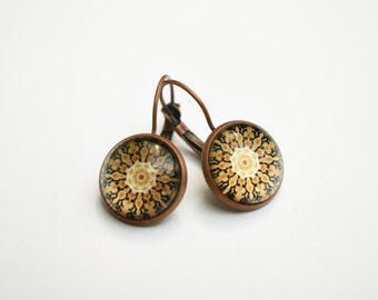 Mandala lever back cabochon earrings, vintage copper dangle earrings, glass dome earrings, stud earrings with cabochon