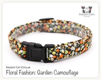 Snazzy Cat Collar: Garden Camouflage - Floral Fashion Collection - Floral Cat Collar - Handmade - Cats + Kittens Breakaway Collar