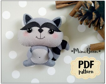Felt pattern raccoon Plush sewing tutorial PDF pattern toy Raccoon ornament DIY felt tutorial softie Raccoon sewing pattern