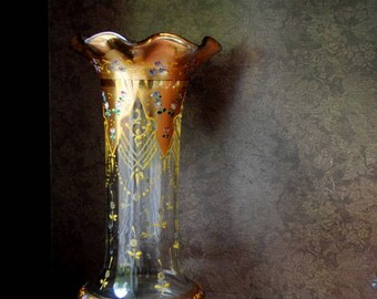 Art deco  1910s  clear glass vase with hand painted details: gold plated top and trim,tiny multi color flowers between, scalloped opening.