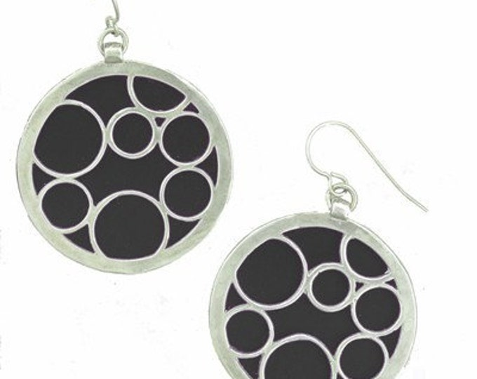 large jet round bubble earrings