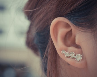 Daisies Sterling Silver Ear Climbers