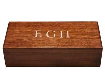 Monogram  Mens Jewelry Box Desk Box Valet, Walnut, Custom Item