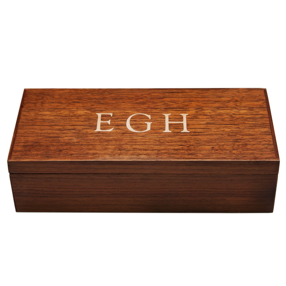 Monogram Mens Jewelry Box Desk Box Valet Walnut Custom Item
