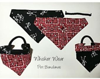 reversible dog scarf, trendy digs wear, dog bandana, pet scarf, pet bandana, pet attire, pet clothing, reversible, skulls, flames