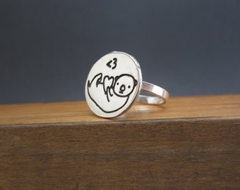 Otter Ring - Sterling Silver Sea Otter Ring