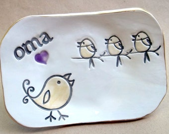 OMA Trinket Dish Jewelry Dish 3 birdies  Mothers Day Gift
