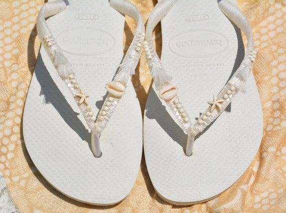 Flip Flip Flops Flip Havaianas Flops Wedding Flops Hippie Sandals Bridal Beaded Wedding Boho White Flip Flip Flops Flops Bridesmaid gcBfS4Oq