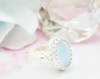 Blue Moonstone Ring - Blue Opal Jewelry - Something Blue For Bride - Blue Glass Ring - Powder Blue Ring Silver - Blue Cabochon Ring R2007