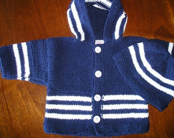 """2-piece hand-knit set """"Blues"""" - new, with tags."""