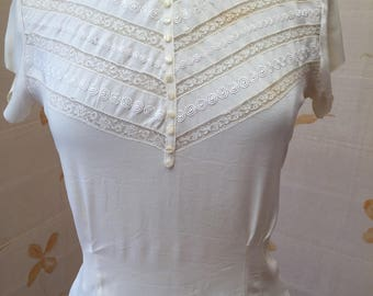 1940s or 50s silk and lace blouse