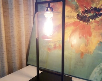 Industrial Style Table Lamp With Glass Shade-Edison Vintage Light bulb