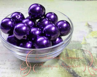 20mm Violet Acrylic Pearl Beads Qty 10