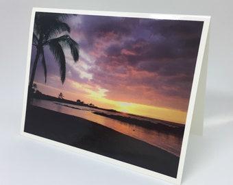 Hawaiian Sunset on the Beach - Glossy Greeting Card