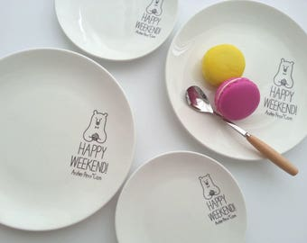 2pcs Ceramic Plate / Dinner Plate / Porcelain Plate / Pottery Plate / Side Plate / Stoneware Plate / Tableware / Food Photography / CP3