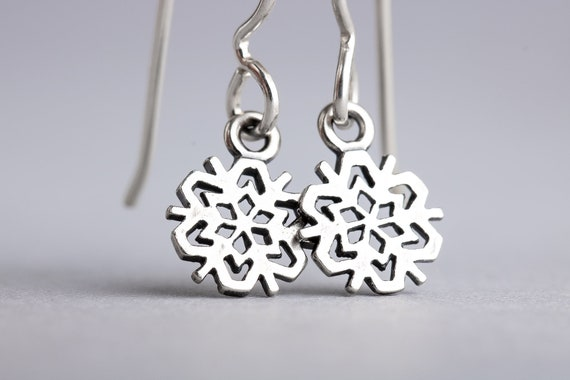 Snowflake Earrings - Snow Dangle Drop Earrings in Sterling Silver - Christmas Jewelry, Holiday Earrings, Winter Earrings - Present Gift