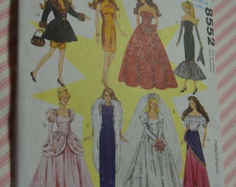 McCalls 8552 Fashion Doll CLothes Sewing Pattern - UNCUT - Glamorous Barbie Dress Patterns