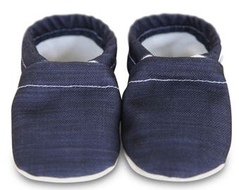ORGANIC baby shoes, navy blue baby shoes, blue canvas baby shoes, navy moccasins