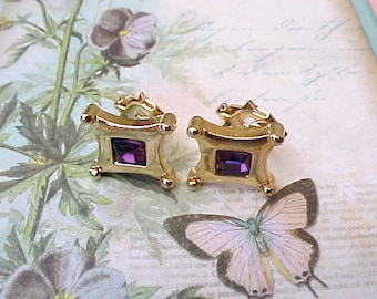 Dainty Little Earrings with Amethyst Colored Rhinestone Centers