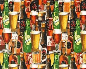 "Crafted Beer ""Bottles & Glasses""-Robert Kaufman-BTY"
