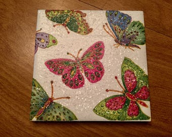 Rainbow Butterflies Ceramic Tile Coasters (set of 4)