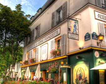 PARIS FRENCH CAFE Montmarte Paris France French Cafe with Flowers Photo Print