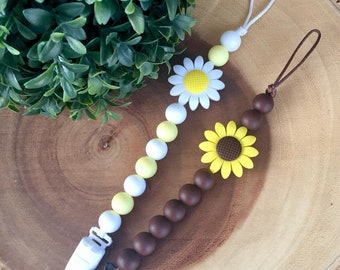 Daisy and Sunflower Teething Soother Clips