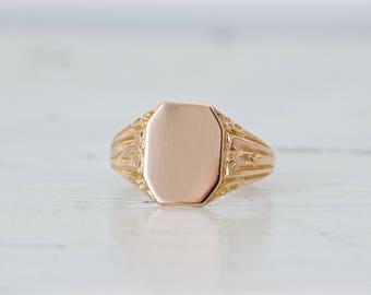 Antique Signet Ring | Art Nouveau Ring | Edwardian Mens Ring | Blank Monogram Personalize | 10k Rose Gold Ring | OB Ostby Barton | Size 11