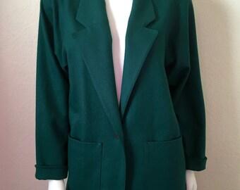 Vintage Women's 80's Green, Wool Coat, Full Lined, Jacket  (M)