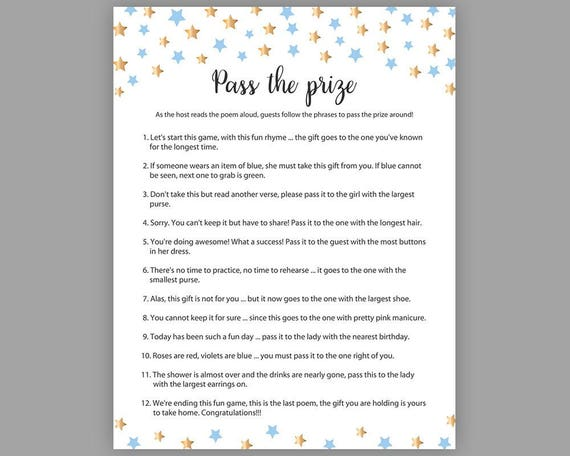 Blue Gold Stars Baby Shower Games Pass The Prize Boy Baby