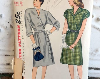 1940s Simplicity Dress Sewing Pattern Plus Size 20 Bust 38