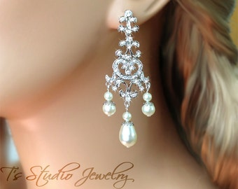 Pearl Bridal Chandelier Earrings - Silver Wedding Earings with White or Ivory Pearls - CAMILLE