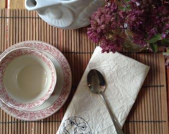 Burrowing owl screen printed cotton napkins