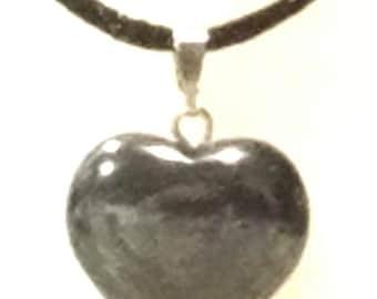 Amethyst or Hematite Heart Necklace