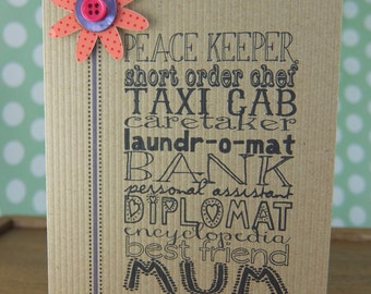 Mum typeface card - any occasion