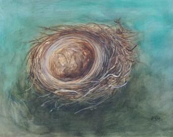 Nest original watercolor painting framed