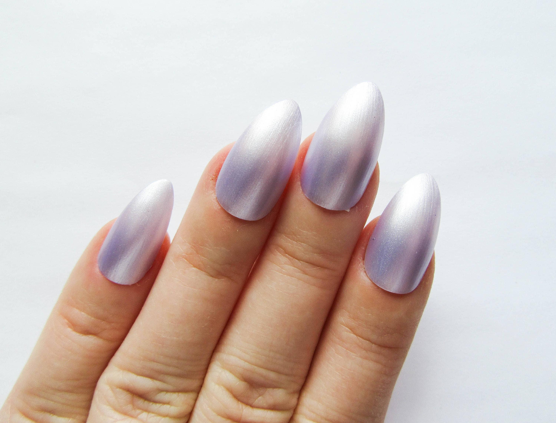 Lila Perlen Nägel / künstliche Nägel / Stiletto Nägel /