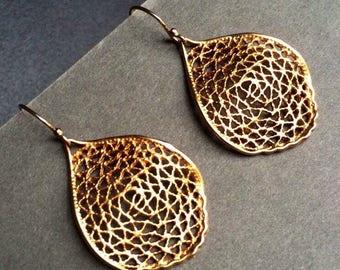 Gold Filigree Earrings. Gold dangles. Modern jewelry.  Freeform earrings. Rustic earrings.  Statement earrings.  Gift for woman