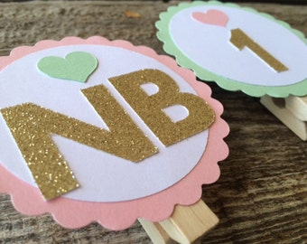 First Year Banner Photo Clips - Mint and Gold Party, Pink and Gold Party, Birthday Party, First Birthday, Photo Prop, Party Decorations