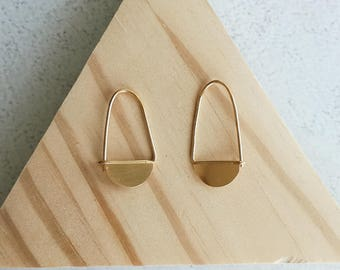 Half Circle Gold-plated silver earrings