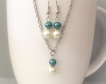 Teal bridesmaid necklace set, Teal necklace set, Teal bridesmaid jewelry, Teal necklace, glass pearl necklace, bridesmaid jewelry